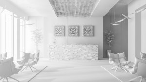 White Interior of hotel and spa reception 3 D illustration